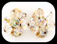 Vintage Alice Caviness AB Aurora Borealis Crystal Cluster Clip On EARRINGS