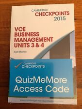 NEW Cambridge Checkpoints VCE Business Management Units 3 and 4 2015 by Alan W..