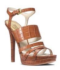 MICHAEL KORS Nadja Walnut croc Platform Open Toe Stiletto Sandals Size 11