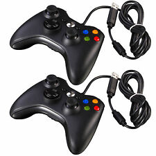 2Pcs Microsoft Xbox 360 PC Windows Fad Black Wired USB Game Pad Controller