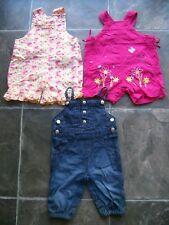 Baby Girl's Shortalls/Summer Overalls x 3 Incl Little Pumpkins & Sprout Size 000