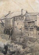 Hübsche Zeichnung Bauernhaus Haus monogrammiert Daniel Staschus