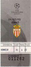 ORIGINALE 1997-98 CHAMPIONS LEAGUE QUARTO DI FINALE 1st MONACO BIGLIETTO MANCHESTER UTD