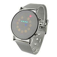 Herren Edelstahl Klassische Uhr Trend Scroll LED Licht Edelstahl Mode Armbanduhr