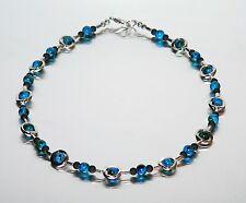 Kette Halskette GLAS  PERLEN 6mm marmoriert BLAU  METALL RAHMEN + Schwarz 436k