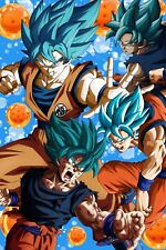 Dragon Ball Super Poster Goku Blue Collage 12in x 18in Free Shipping