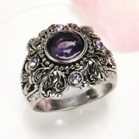 Vintage Purple Amethyst Ring 925 Silver Engagement Wedding Jewelry Size 6-10