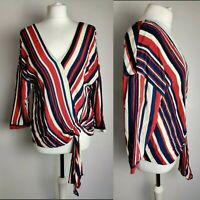 ZARA Women's Top Blouse Striped V Neck Tie Front  Blogger Spring Holiday M 10 12