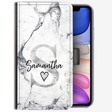 Personalised Initial Phone Case, Grey Marble PU Leather Cover, Name With Heart