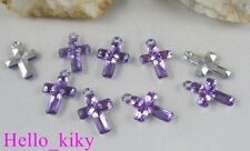 400 pcs Purple cross Acrylic charms 21X14mm M1766