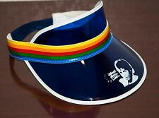 1980's VINTAGE MICHAEL JACKSON THRILLER BLUE - RAINBOW SUN VISOR HAT