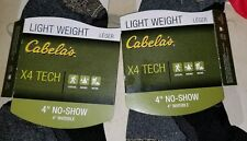 "Cabela's Set of 2 Light Weight X4 Tech 4"" No Show Socks Size M"