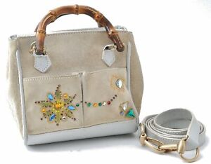 Authentic GUCCI Bamboo 2way Hand Shoulder Bag Suede Leather Ivory White C0663
