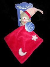 Doudou Babynat Baby'nat Ours Chat Luminescent avec mouchoir Rose Etoile 13cms BN