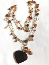 Genuine Tiger Eye Calcedony Quartz Garnet stone beaded link Heart necklace 48""