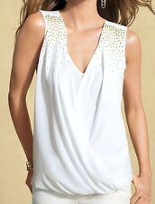 NWT CACHE Sexy Black White Studded Dress Top Evening Club Party  XS  S  M  L  XL