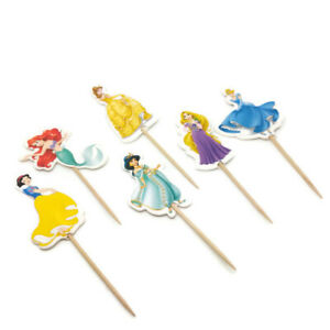 12 pcs Disney Princess Birthday Cake Toppers Cupcake Picks Girls Party Decor