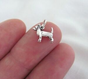 Small Sterling Silver 3d Chihuahua dog mini tiny charm.