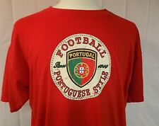 Portugal Football Portuguese Style Men's T-Shirt Distressed Short Sleeve Red 2XL