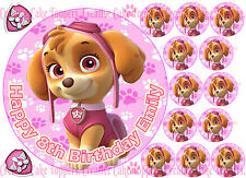 Paw Patrol Skye Pink Personalised Edible Birthday Party Cup Cake Icing Toppers