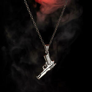 Solid 925 Sterling Silver Gun Design Men's Necklace