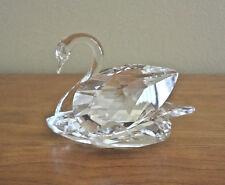 "Swarovski Stunning Clear Crystal Swan Figurine 3"" L"