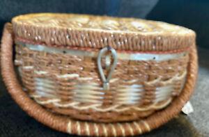 Dritz Pink Vintage Sewing Woven Basket Pin Cushion Top Sewing Seamstress