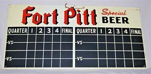 VINTAGE 1949 FORT PITT SPECIAL BEER 2-SIDED TIN SCOREBOARD (FOOTBALL & BASEBALL)
