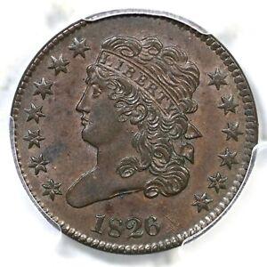 1826 C-1 PCGS MS 62 BN Classic Head Half Cent Coin 1/2c