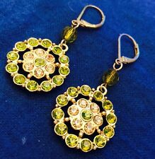 """Peridot Green Pale Pink Flower  Dangles Earrings Pierced Leverbacks 1-1/2"""""""