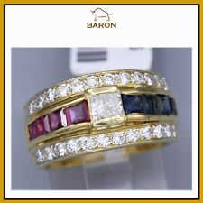 GOLD RUBY SAPPHIRE RING 18K GOLD RED & BLUE GEMSTONES & DIAMONDS RING SIZE 6