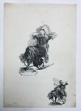 Dessin ancien à l'encre, Signé et daté 1886, Femme sur un rocking chair, XIXe