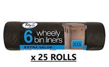 25 x 6 Extra Large Wheelie Bin Liners Waste Rubbish WHOLESALE JOB LOT OFFER
