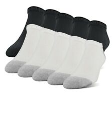 Gildan 10- Pack Men's Low Cut Socks Shoe Size 6-12 Cushioned Sole White/Black