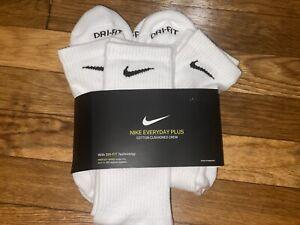 Nike Dri Fit Everyday Plus Cushion Crew Socks  3 Pack Men's Size L  8-12 white
