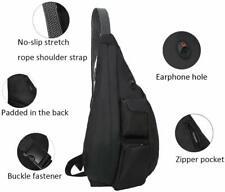 Rope Sling Crossbody Backpack Chest Bag Adjustable Shoulder Strap Black Unisex