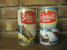 Lot of 2 Early Scenic Schmidt Beer Cans, one pull tab and one Piggy Bank, St. Pa