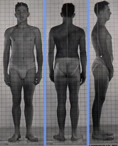 HOT DARK GAY MYSTERY ~ 1940s 5x7 NAVY ID PHOTO NEAR NUDE JOCK SAILOR MAN #223