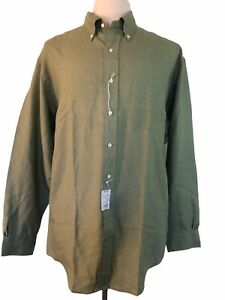 BROOKS BROTHERS Large Olive Green Irish Linen Long Sleeve Button Front Shirt NWT