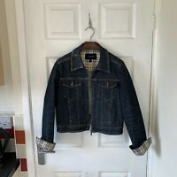 Women's BURBERRY Denim Jacket Coat Nova Check Size UK 12 Blue