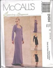 McCalls Sewing Pattern # 2494 Misses Lined Evening Dress and Shrug Size 14-16-18