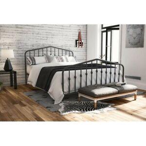 Novogratz Bushwick Metal Bed, Size Queen - Gray