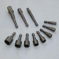 """Tuercas conexión y adaptador con Broca 11tlg. 1/4 3/8 1/2"""" Vasos 5-13mm Kit"""