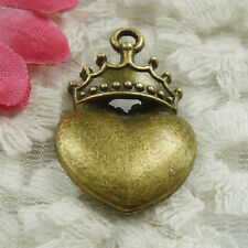Free Ship 90 pieces bronze plated crown heart charms 28x18mm #1818