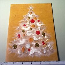 #D18- Vintage Xmas Greeting Card Stunning Holiday Tree With Doves & Glitter Ball