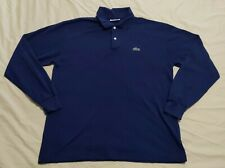 Vintage Chemise Lacoste Polo Shirt Men XL Navy Made in France Long Sleeve
