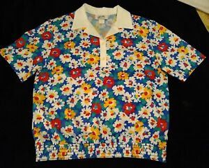 Vintage Vera Neumann Bright Cheery Floral Poly Shirt Top Floral Cotton 16 NEW
