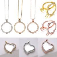 DIY Living Memory Floating Round Heart Locket Pendant Necklace Charm Holder Gift