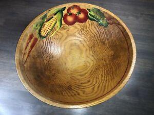 "Vintage Wooden Bowl With Round Feet Salad Vegetable Bread Bowl Huge 14.75"""