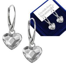 925 Sterling Silver Stud Earrings Flat Heart 10 Mm Crystals From Swarovski®